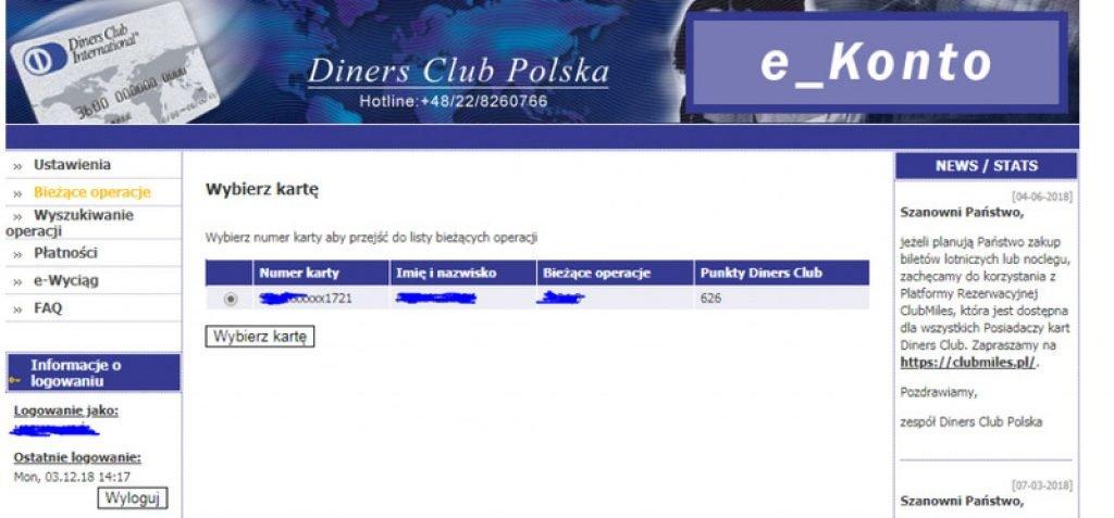 diners club logowanie